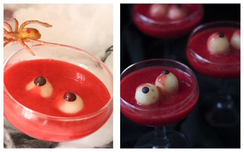Cóctel de ojos sangrantes - recetas de Halloween para niños